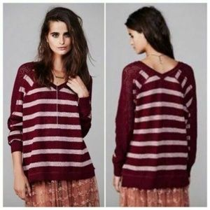 We the Free People Burgundy Striped Lace Sweater